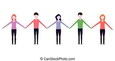 Leute, die Händchen halten.
