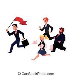 Leute, die hinter Führern her sind, die Flagge halten, Geschäftserfolg, Karrierekonzept