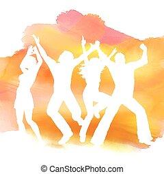 Leute, die im Hintergrund tanzen.