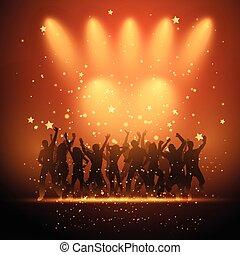 Leute, die im Rampenlicht tanzen.