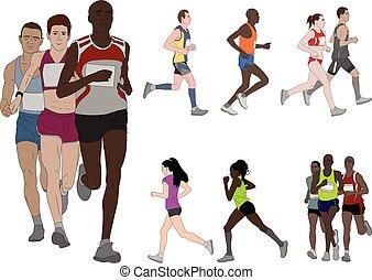 Leute, die laufen, detaillierte Farbdarstellung.