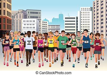 Leute, die Marathon laufen.