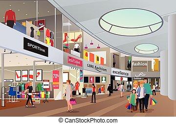 Leute einkaufen in einem Einkaufszentrum.