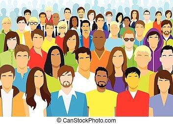 leute, ethnisch, crowd, beiläufig, gesicht, gruppe, verschieden, groß