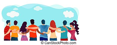 leute, friends, multiethnic, kommunikation, sozial, dialogue., umarmt, diversity., freundschaft, network., studenten, teamwork., zuammenarbeit, community., gruppe, organization., united.