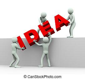 leute, -, idee, 3d, begriff