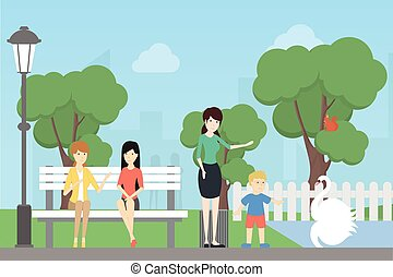 Leute im Park.