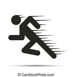 Leute in Bewegung zu bringen. Ein einfaches Symbol des Laufens, isoliert auf einem weißen Hintergrund.