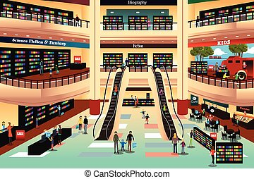 Leute in einem Buchladen.