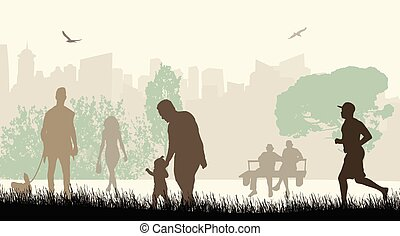 Leute in einem Stadtpark Silhouetten.