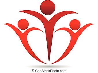 Leute in einem Umarmungs-Logo.