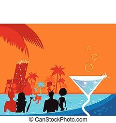 Leute in Pool & Fresh Martini trinken