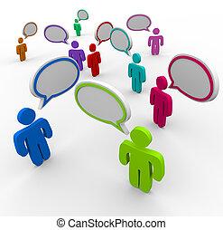 leute, kommunikation, -, durcheinandergebracht, sprechen, einmal
