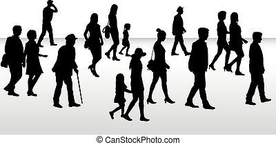 Leute laufen, schwarze Silhouetten.