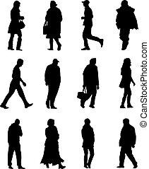 Leute laufen.