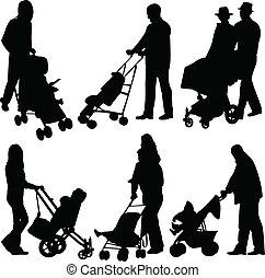 Leute mit Babys im Kinderwagen