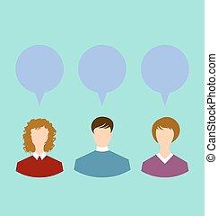 Leute mit Chat-Sprachblasen, soziales Netzwerk.