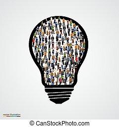 Leute mit Glühbirne.