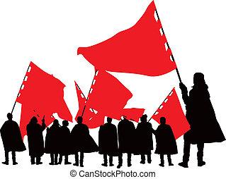 Leute mit roten Flaggen