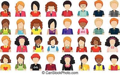 Leute ohne Gesichter.