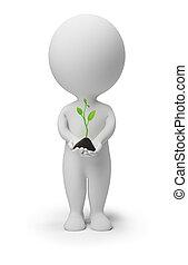 leute, pflanzenkeim, -, klein, frisch, 3d