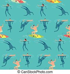 Leute schwimmen und tauchen Ozean. Sommerzeit am Strand exotischen Vintage nahtloses Vektormuster