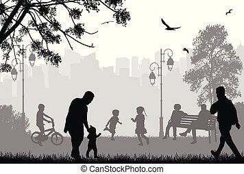 Leute Silhouetten in einem Stadtpark.