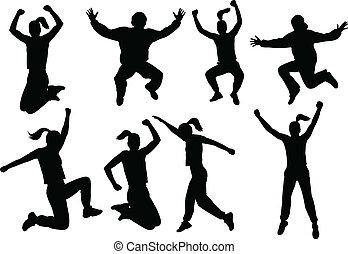 Leute springen auf Silhouette