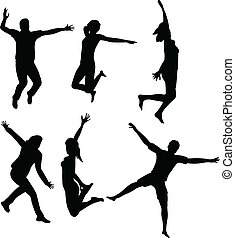 Leute springen