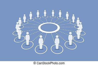 Leute stehen um einen Kreis, der sich miteinander verbindet.