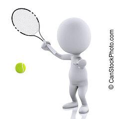 leute, tennis, zurück, freigestellt, schläger, weißes, ball., 3d