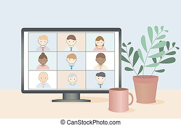 leute, vector., geschaeftswelt, online, video, arbeit, concept., entfernt, konferenz