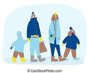 leute, winter, warm, angezogene , draußen, clothes.