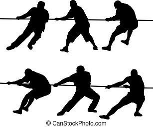 Leute ziehen Seile