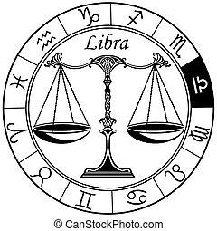 Libra zodiac Zeichen schwarzweiß