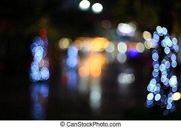 licht, abstrakt, dunkel, bokeh, straße, hintergrund