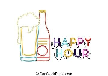 licht, bier, neon, flasche, glas