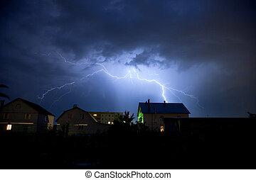 Licht im wolkigen Himmel über dem Dorf