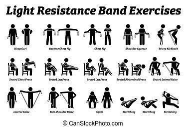 licht, step., workout, widerstand, techniken, strecken, übungen, treten, band