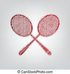 licht, zwei, kontur, schläger, tennis, steigung, zeichen., hintergrund., kritzeln, graue , schnur, illustration., rotes , ikone, künstlerisch