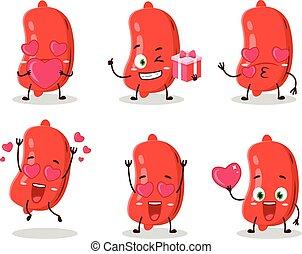 liebe, emoticon, sausage, karikatur, zeichen, reizend
