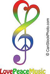 Liebe Frieden und Musik, isoliert