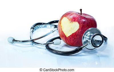 liebe, -, gesundheit, apfel, begriff
