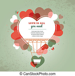 Liebe Hintergrund - Herzform Heißluftballon.