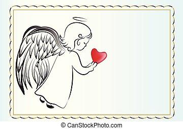 liebe, invitational, engelchen, karte, herz, beten