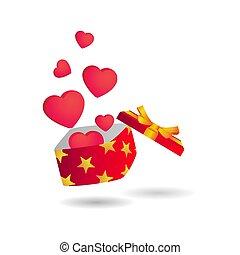 liebe, kasten, geschenk, vektor, design, rgeöffnete, dekoration