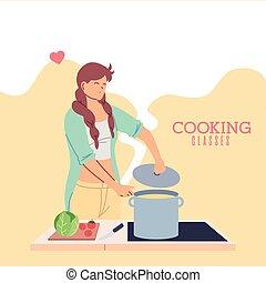 liebe, klassen, junge frau, kochen