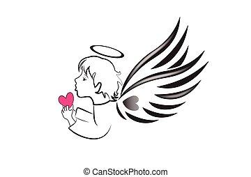 liebe, logo, herz, engelchen