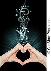 Liebe Magie, Hände in Herzform