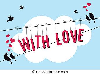 Liebe mit Vögeln im blauen Himmel, Vektor
